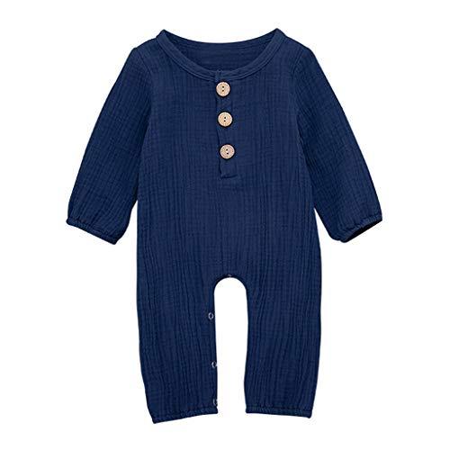 ZEFOTIM Unisex Baby Long-Sleeve Romper, 2019 Newborn Infant Baby Boy Girl Cotton Linen Solid Romper Jumpsuit Clothes Outfits(Blue,100)