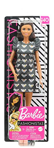 Barbie Fashionistas Doll #140 with Long Brunette Hair Wearing Mouse-Print Dress, Pink Booties & Sunglasses, Toy for Kids 3 to 8 Years Old