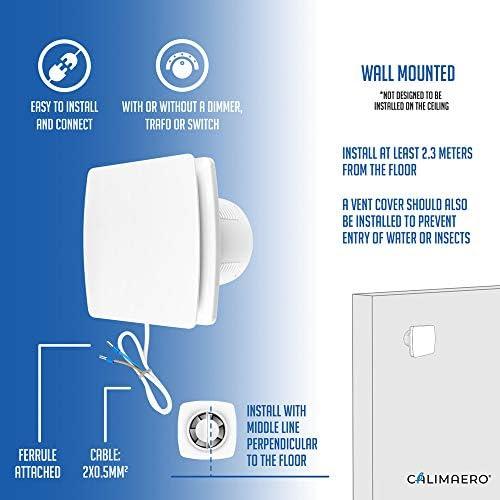 Badl/üfter 100 mm Abluftventilator mit Feuchtigkeitssensor Timer und R/ückstauklappe 100 m/³//h 32 dB IPX4 Geb/ürstete Edelstahlplatte