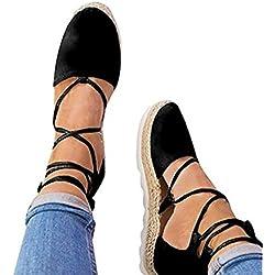 Huiyuzhi Womens Summer Lace Up Flip-flop Flats Bandage Sandals (11 B(M) US, Black-Cross)
