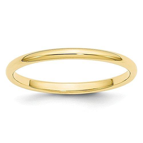 (10K Yellow Gold 2mm Half Round Band Size)