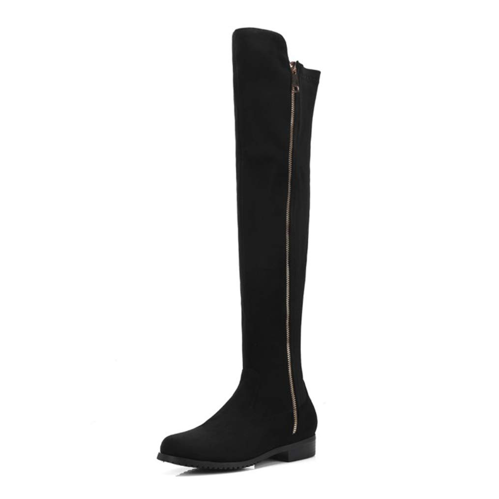 Black Hoxekle Women Over The Knee High Boots Nubuck Zipper Round Toe Short Plush Low Square Heels Ladies Fashion Long Boots