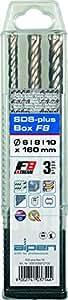 Alpen 81606810100 SDS Plus F8 extrem - Juego de brocas percutoras (4 cortes, diámetros:160 y 6, 8, 10 mm, 3 piezas, en estuche de plástico)