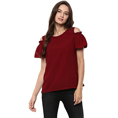 545cca7c87944 Pannkh Women s Solid Top with Smoking Cold-Shoulder Maroon  Amazon ...