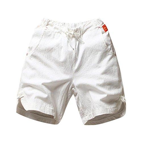 Cargo Linen Shirts - YOcheerful Deals Men's Shorts Trunks Loose Linen Cargo Pants Running (White,XL)