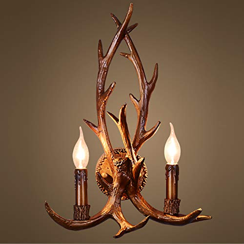 OAKLIGHTING 2-Lights Antler Wall Lamps Bar Restaurant Loft Porch Wall Sconces Lights