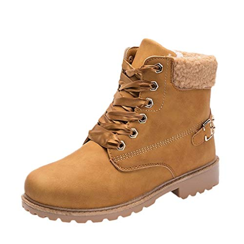 (Creazrise Women's Ankle Boots Ladies Lace up Low Heel Work Combat Boots Warm Winter Waterproof Snow Boots (Yellow,8))