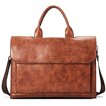 Image of BOSTANTEN Leather Briefcase Messenger Satchel Bag 15.6' Laptop Office Handbags for Women & Men Brown Cases & Sleeves