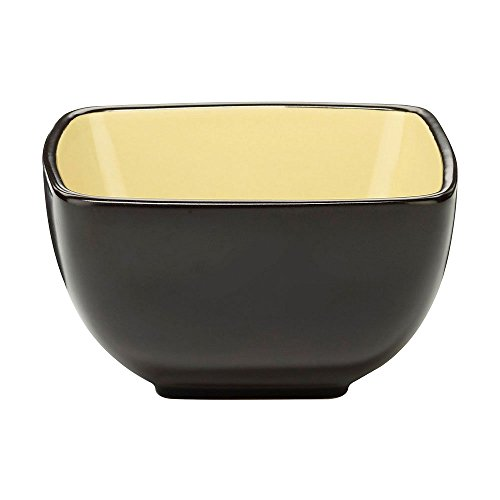 Cuisinart CDST1-BWY Melle Collection Stoneware Open Stock Square Bowl, 5.5-Inch, Yellow (Open Stock Dinnerware Collection)