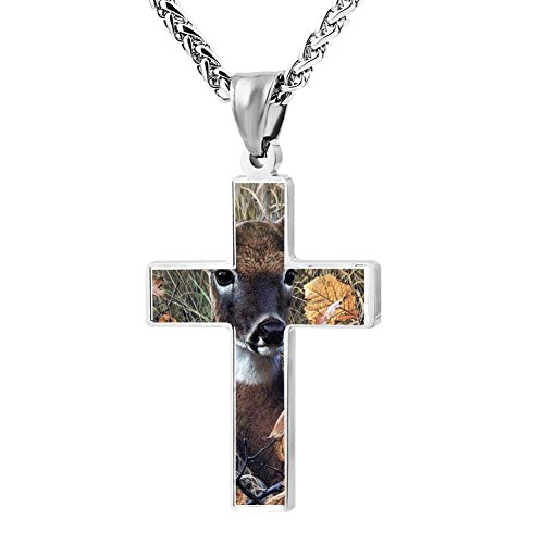 Gjghsj2 Cross Necklace Pendant Religious Jewelry Cut Deer For Men Wome ()