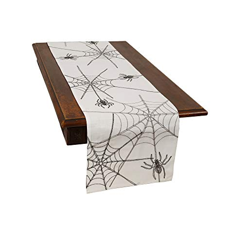 Xia Home Fashions Halloween Spider Web Table Runner 15''x70'' White