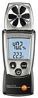 Testo 410-2 Digital Pocket Vane Anemometer, 0.4 to 20 m/s Velocity, -10 to +50° C Temperature, 0 to 100% RH