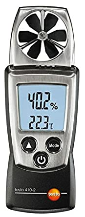Testo 410-2 Digital Pocket Vane Anemometer, 0.4 to 20 m s Velocity, -10 to 50 C Temperature, 0 to 100 RH
