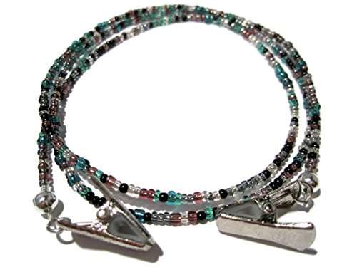 ATLanyards Purple, Teal and Black Clip Eyeglass Holder - Eyeglass Necklace with Silver - Bar Black Eyes Over