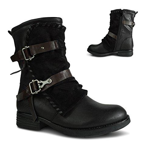 Damen Worker Stiefel gefüttert Stiefeletten Boots Outdoor Winter Biker ST06 Schwarz