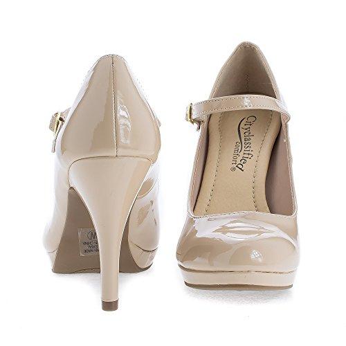 Amandel Teen Mary Jane Extra Gevoerde Comfort Stiletto Jurk Pumps Dk Beige Pat