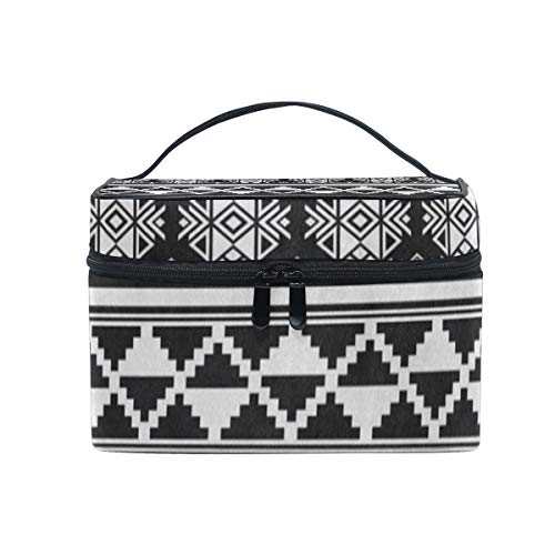 Cosmetic Bag African And Mexican Aztec American Tribal Womens Makeup Organizer Girls Toiletry Case Box Lazy Zip Bag ()