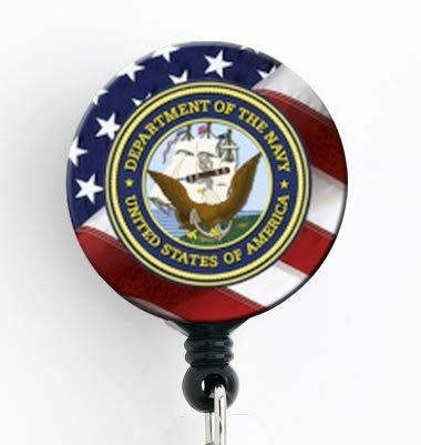 Navy Insignia with American Flag - Retractable Badge Reel with Swivel Clip and Extra-Long 34 inch Cord - Badge Holder/Military/Nurse Badge (Us Reel)