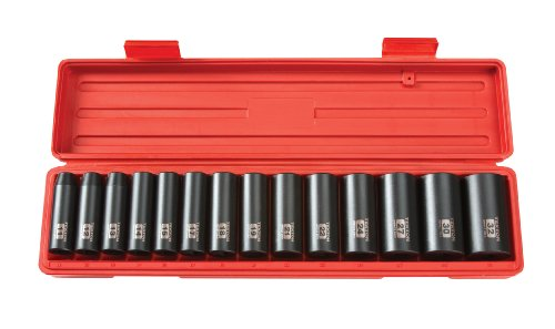 TEKTON 1/2-Inch Drive Deep Impact Socket Set, Metric, Cr-V, 6-Point, 11 mm - 32 mm, 14-Sockets | ()