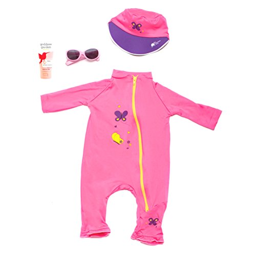 Baby's First Sun Day Infant Toddler Long Sleeve Sunsuit, Sun Cap, Sun Glasses and Goddess Garden Organics Sunscreen Kit (6 to 12 Months, - First Sunglasses