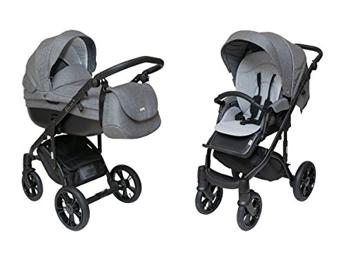 ROAN BASS SOFT Stroller 2-in-1 with Bassinet for Baby, Toddler's Five Point Safety Reversible Seat, Swivel Air-Inflated Wheels, Unique Shock Absorbing System and Great Storage Basket (Belgium Gray)