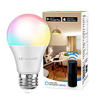 LE Smart Light Bulb, RGB Color Changing LED Bulbs, Works with Alexa and Google Home, Dimmable A19 E26 Bulb 60 Watt Equivalent, 2.4GHz WiFi Only, No Hub Required