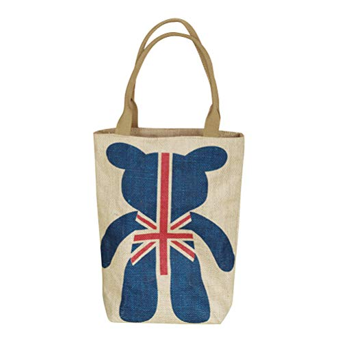 Union Jack Bags - VORCOOL Cotton and Linen Tote Handbags Bear in Union Jack Reusable Shopping Storage Bag