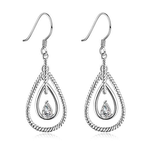 (Teardrop Dangle Earrings Sterling Silver Multilayer Twisted Cubic Zirconia Drop Earrings for Women Girls)