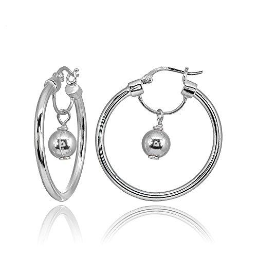 Sterling Silver High Polished Dangling Bead Hoop Earrings