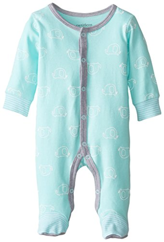 Front Footed Snap Sleeper (Baby Footed Sleeper, Premium Soft and Breathable Cotton, Multiple Styles,Teal,Newborn)
