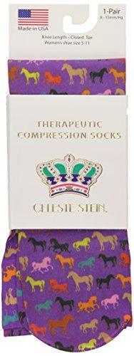 Celeste Stein Therapeutic Compression Socks, Multi Horses, 8-15 mmhg, .6 ()