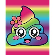 Rainbow Emoji Poop Journal: Cute Flower Girl Poop Emoji Rainbow Diary Journal with 160 Lined Pages, 8x10 inch Blank Notebook with Rainbow Design Softcover for Girls, Boys, Kids & Adults