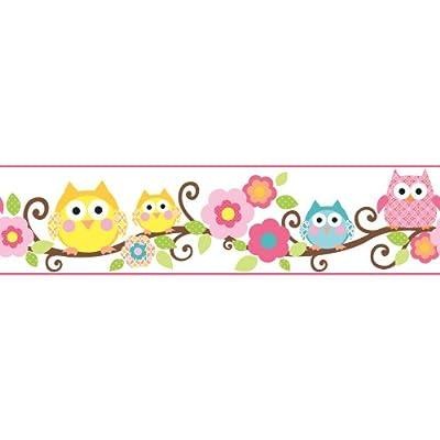 York Wallcoverings Cool Kids Owl Branch Border Bubble Gum/Watermelon/Kiwi/Chocolate/Egg York/Mango/Snow