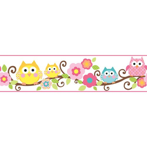 Wallpaper Childrens - York Wallcoverings Cool Kids Owl Branch Border Bubble Gum/Watermelon/Kiwi/Chocolate/Egg York/Mango/Snow