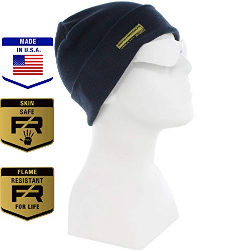 Benchmark FR Flame Resistant Beanie, Navy, Men's CAT 3 FRC with 36 Cal Rating, Warm, Made in USA, Inherent FR Materials ()