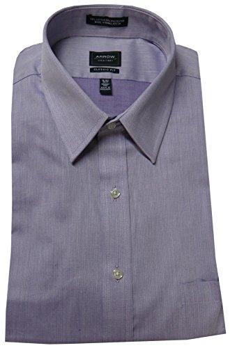 Arrow Men's Classic Fit Wrinkle Free Herringbone Point Collar Dress Shirt