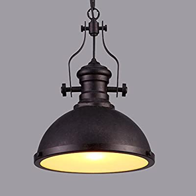 Industrial Single-Light Pendant Lamp-LITFAD Frosted Glass Diffuser,One light Iron Pendent Light Mounted Fixture