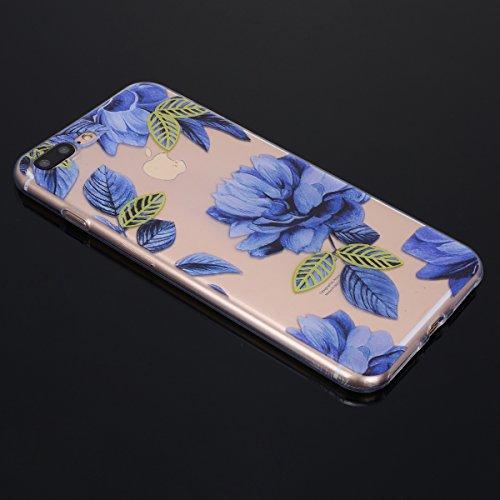 Funda iPhone 7 plus/8 plus,SainCat Moda Alta Calidad suave de TPU Silicona Suave Funda Carcasa Parachoques Diseño pintado Patrón para Funda TPU Silicona Flexible Ultra Delgado Ligero Goma Case Cover C Flores azules
