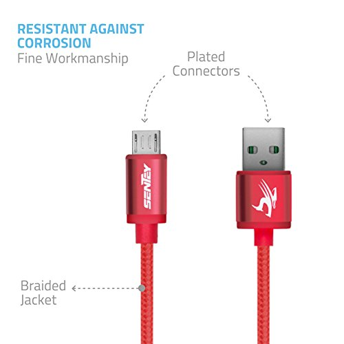 Micro USB Cable 1 Meter 3ft Braided (Red) Sentey High Speed Micro Usb Cable Usb 2.0 Tangle-free Charging/sync Cable a Male to Micro USB Ls-6723 by Sentey (Image #5)