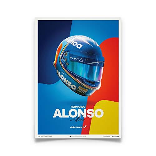 Fernando Alonso Helmet - Automobilist McLaren - Fernando Alonso Poster - Helmet - 2018 - Unique Design Poster - Standard Poster Size 19 ¾ x 27 ½ Inch