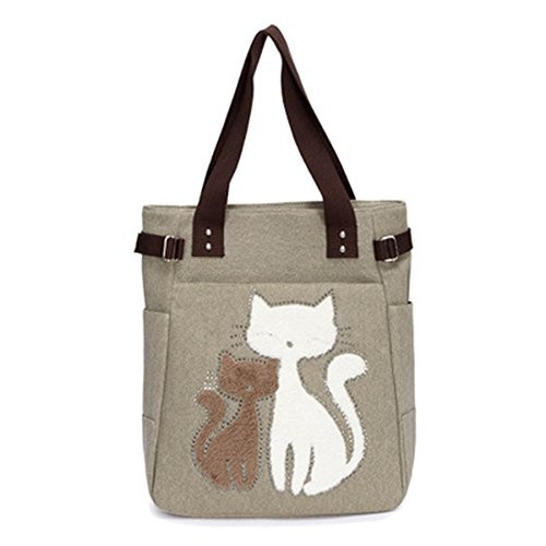 Bolso multifuncional del almuerzo del hombro del bolso del diseño lindo del gato de Vitage de la lona de las mujeres Caqui