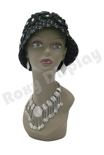 (MD-TinaB3) ROXYDISPLAY™ Realistic African Female Mannequin Head Pretty make-up, Jewlery Display.
