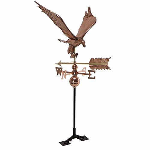 (9TRADING Copper Polished Eagle Weathervane Weather Vane Roof Bracket Mounting Hardware)
