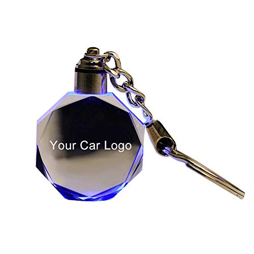 (dSNAPoutof LED Cut Glass Keychain Car Logo Keyring Key Holder for Audi VW Benz Ford BMW - for s-Koda)