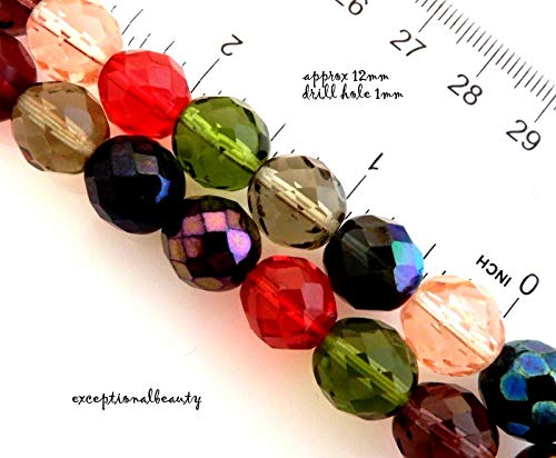 - Pendant Jewelry Making 20 Czech Fire Polished 12mm Faceted Glass Assorted Color Mix Beads