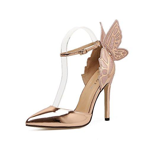 ZHZNVX Les chaussures à talons hauts chaussures creux papillon stéréo avec pointe fine sandales champagne EeJLDmlcQ