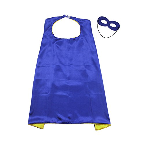 Whoopgifts 90cm x 70cm Superhero Kids Girl Boy Cape and Mask Costume for Child, Blue&Yellow]()