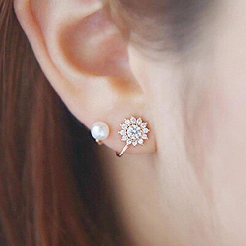 - Pearl Ear Studs Earrings Women Flower Ear Clip Piercing Dangles Small Ear Studs Jewelry Hemlock (Rose gold)