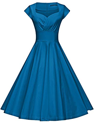 GownTown Womens Dresses Party Dresses 1950s Vintage Dresses Swing Stretchy Dresses,Blue,XX-Large