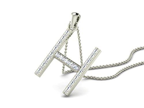 Or Blanc 14 ct Pendentifs Diamant en forme de H alphabet, 0.15 Ct Diamant, GH-SI, 1.11 grammes.